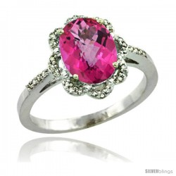 14k White Gold Diamond Halo Pink Topaz Ring 1.65 Carat Oval Shape 9X7 mm, 7/16 in (11mm) wide