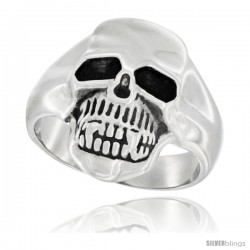 Surgical Steel Skull Ring 13/16 in long