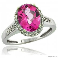 14k White Gold Diamond Pink Topaz Ring 2.4 ct Oval Stone 10x8 mm, 1/2 in wide