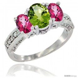 14k White Gold Ladies Oval Natural Peridot 3-Stone Ring with Pink Topaz Sides Diamond Accent