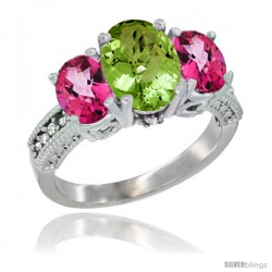14K White Gold Ladies 3-Stone Oval Natural Peridot Ring with Pink Topaz Sides Diamond Accent