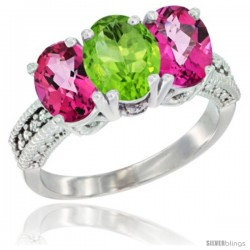 14K White Gold Natural Peridot & Pink Topaz Sides Ring 3-Stone 7x5 mm Oval Diamond Accent