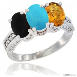 14K White Gold Natural Black Onyx, Turquoise & Whisky Quartz Ring 3-Stone 7x5 mm Oval Diamond Accent