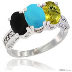 14K White Gold Natural Black Onyx, Turquoise & Lemon Quartz Ring 3-Stone 7x5 mm Oval Diamond Accent