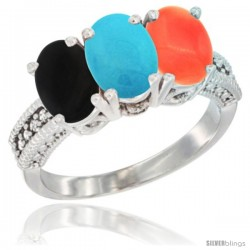14K White Gold Natural Black Onyx, Turquoise & Coral Ring 3-Stone 7x5 mm Oval Diamond Accent
