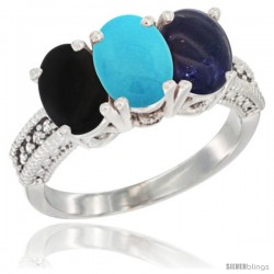 14K White Gold Natural Black Onyx, Turquoise & Lapis Ring 3-Stone 7x5 mm Oval Diamond Accent
