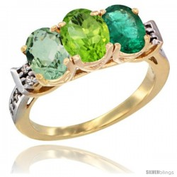 10K Yellow Gold Natural Green Amethyst, Peridot & Emerald Ring 3-Stone Oval 7x5 mm Diamond Accent