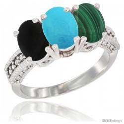 14K White Gold Natural Black Onyx, Turquoise & Malachite Ring 3-Stone 7x5 mm Oval Diamond Accent