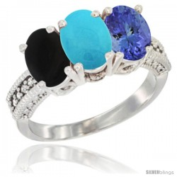 14K White Gold Natural Black Onyx, Turquoise & Tanzanite Ring 3-Stone 7x5 mm Oval Diamond Accent