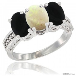 14K White Gold Natural Opal & Black Onyx Sides Ring 3-Stone 7x5 mm Oval Diamond Accent