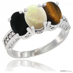 14K White Gold Natural Black Onyx, Opal & Tiger Eye Ring 3-Stone 7x5 mm Oval Diamond Accent