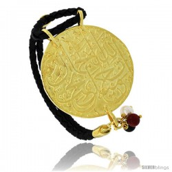 Sterling Silver Islamic 99 NAMES OF GOD Gold Plated Black Braided Leather Bracelet Tri-colored Beads 1 11/16 in diameter, 7.5