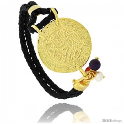 Sterling Silver Islamic AL SHAHADA Gold Plated Black Braided Leather Bracelet Tri-colored Beads, 1 1/8 in diameter, 7.5 in