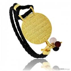 Sterling Silver Islamic AYATUL KURSI PRAYER Gold Plated Black Braided Leather Bracelet Tri-colored Beads, 1 1/8 in diameter