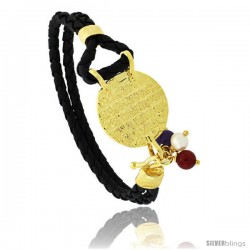 Sterling Silver Islamic AYATUL KURSI PRAYER Gold Plated Black Braided Leather Bracelet Tri-colored Beads, 13/16 in diameter