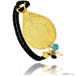Sterling Silver Islamic AYATULA KURSI PRAYER Gold Plated Black Braided Leather Bracelet Tri-colored Beads, 1 5/16 in diameter
