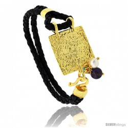Sterling Silver Islamic 99 NAMES OF GOD Gold Plated Black Braided Leather Bracelet Tri-colored Beads, 13/16 in wide, 7.5 in