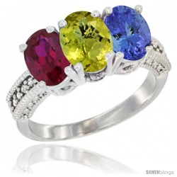 10K White Gold Natural Ruby, Lemon Quartz & Tanzanite Ring 3-Stone Oval 7x5 mm Diamond Accent