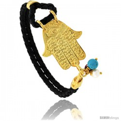 Sterling Silver Islamic HAND OF FATIMA Gold Plated Black Braided Leather Bracelet Tri-colored Beads, 1 1/8 in wide, 7.25 in