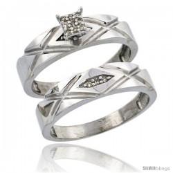 Sterling Silver Ladies' 2-Piece Diamond Engagement Wedding Ring Set Rhodium finish, 3/16 in wide