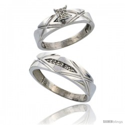 Sterling Silver 2-Piece Diamond wedding Engagement Ring Set for Him & Her Rhodium finish, 5mm & 6mm wide