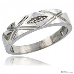 Sterling Silver Ladies' Diamond Wedding Band Rhodium finish, 3/16 in wide