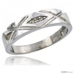 Sterling Silver Ladies' Diamond Wedding Band Rhodium finish, 3/16 in wide