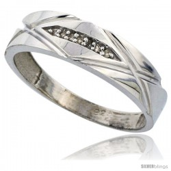 Sterling Silver Men's Diamond Wedding Band Rhodium finish, 1/4 in wide