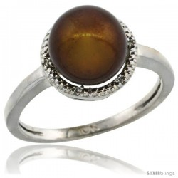 10k White Gold Halo Engagement 8.5 mm Brown Pearl Ring w/ 0.022 Carat Brilliant Cut Diamonds, 7/16 in. (11mm) wide