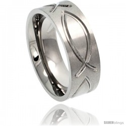 Titanium 8mm Flat Wedding Band Ring Ichthys Christian Fish Comfort-fit