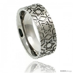 Titanium 8mm Flat Wedding Band Ring Star Of David Pattern Comfort-fit