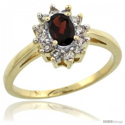 10k Yellow Gold Garnet Diamond Halo Ring Oval Shape 1.2 Carat 6X4 mm, 1/2 in wide