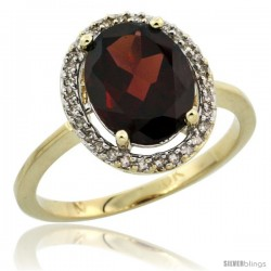 10k Yellow Gold Diamond Halo Garnet Ring 2.4 carat Oval shape 10X8 mm, 1/2 in (12.5mm) wide