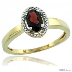 10k Yellow Gold Diamond Halo Garnet Ring 0.75 Carat Oval Shape 6X4 mm, 3/8 in (9mm) wide