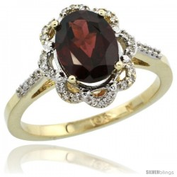 10k Yellow Gold Diamond Halo Garnet Ring 1.65 Carat Oval Shape 9X7 mm, 7/16 in (11mm) wide