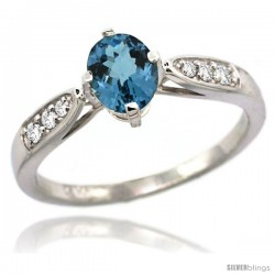 14k White Gold Natural London Blue Topaz Ring 7x5 Oval Shape Diamond Accent, 5/16inch wide
