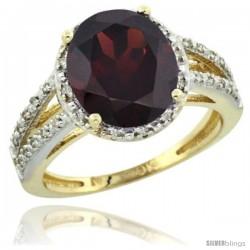 10k Yellow Gold Diamond Halo Garnet Ring 2.85 Carat Oval Shape 11X9 mm, 7/16 in (11mm) wide