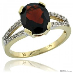 10k Yellow Gold and Diamond Halo Garnet Ring 2.4 carat Oval shape 10X8 mm, 3/8 in (10mm) wide