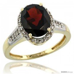 10k Yellow Gold Diamond Garnet Ring 2.4 ct Oval Stone 10x8 mm, 1/2 in wide