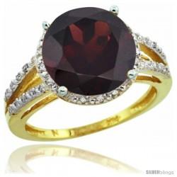 10k Yellow Gold Diamond Garnet Ring 5.25 ct Round Shape 11 mm, 1/2 in wide