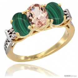 10K Yellow Gold Natural Morganite & Malachite Sides Ring 3-Stone Oval 7x5 mm Diamond Accent