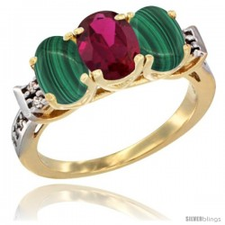 10K Yellow Gold Natural Ruby & Malachite Sides Ring 3-Stone Oval 7x5 mm Diamond Accent