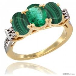 10K Yellow Gold Natural Emerald & Malachite Sides Ring 3-Stone Oval 7x5 mm Diamond Accent