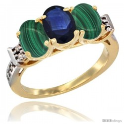 10K Yellow Gold Natural Blue Sapphire & Malachite Sides Ring 3-Stone Oval 7x5 mm Diamond Accent