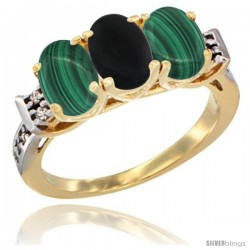 10K Yellow Gold Natural Black Onyx & Malachite Sides Ring 3-Stone Oval 7x5 mm Diamond Accent