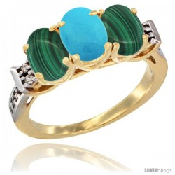 10K Yellow Gold Natural Turquoise & Malachite Sides Ring 3-Stone Oval 7x5 mm Diamond Accent