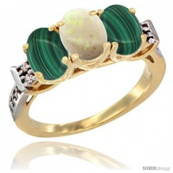 10K Yellow Gold Natural Opal & Malachite Sides Ring 3-Stone Oval 7x5 mm Diamond Accent