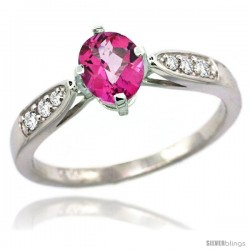 14k White Gold Natural Pink Topaz Ring 7x5 Oval Shape Diamond Accent, 5/16inch wide