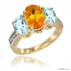 14K Yellow Gold Ladies 3-Stone Oval Natural Citrine Ring with Aquamarine Sides Diamond Accent