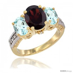 14K Yellow Gold Ladies 3-Stone Oval Natural Garnet Ring with Aquamarine Sides Diamond Accent